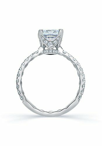A.JAFFE Quilted French Pave Princess Cut Center Engagement ...