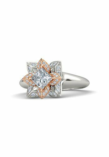Gemvara - Customized Engagement Rings Princess-Cut Lotus ...