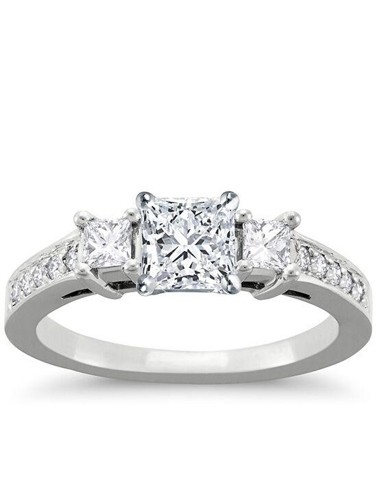 blue nile trio princess cut pave engagement ring