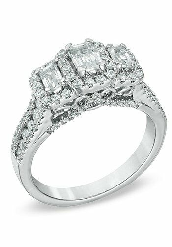 Zales 1 1 2 CT T W Certified Emerald Cut Diamond Three Stone Frame Ring in