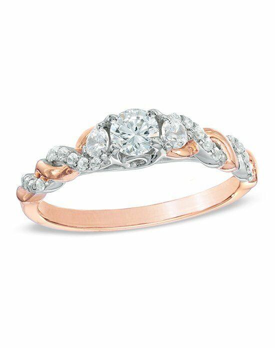 Zales 1 2 CT T W Diamond Past Present Future Twist Engagement Ring in 14K