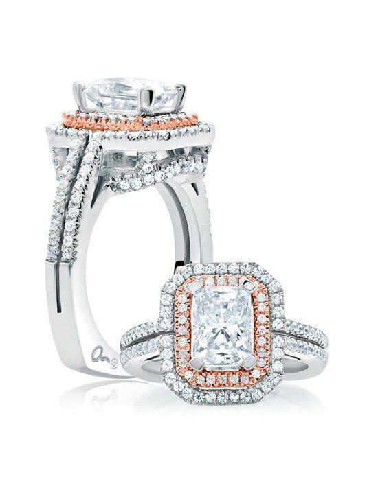 A.JAFFE Double Halo Emerald Cut Rose Gold Diamond ...