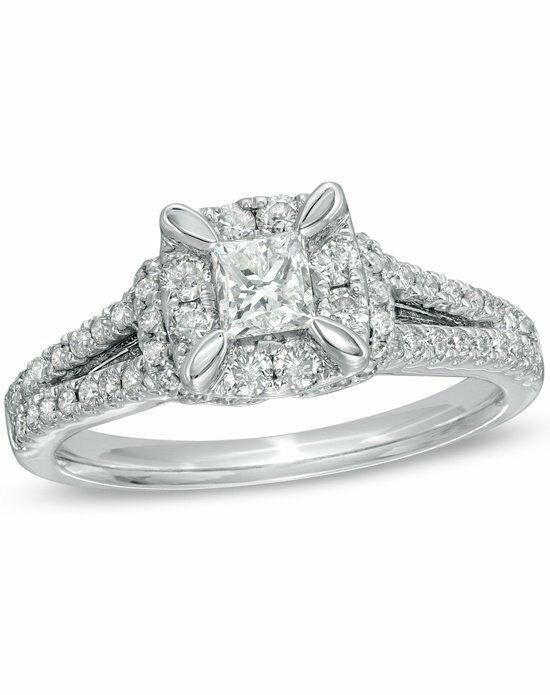 zales 1 ct t w princess cut split shank engagement ring