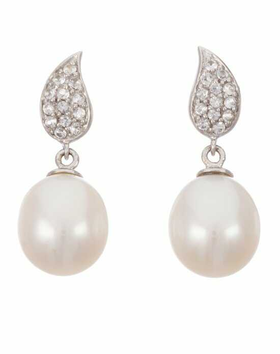 Thomas Laine Sterling Silver Freshwater Pearl and Topaz Teardrop Earring Wedding Earring photo