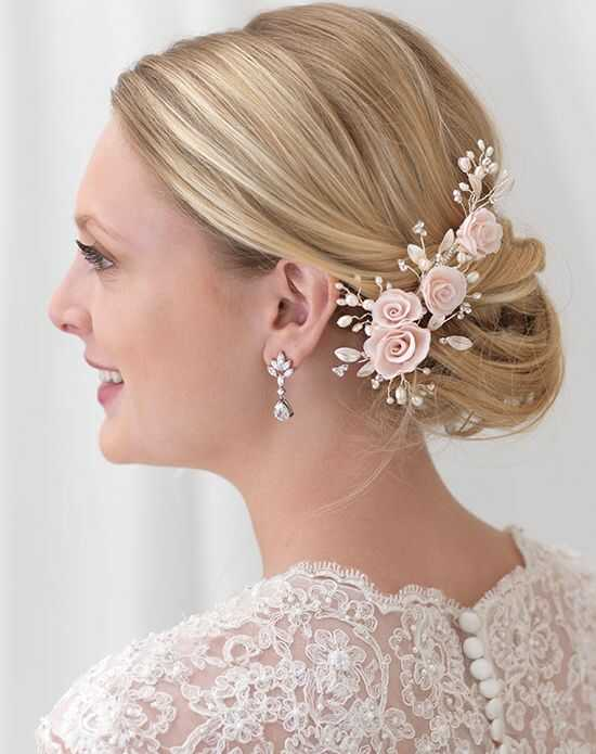 USABride Blush Pink Flower Comb TC-2307 Ivory, Pink, Silver Pins, Combs + Clip