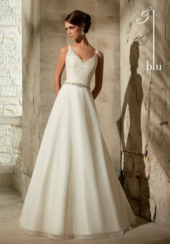 Mori lee blue wedding dress
