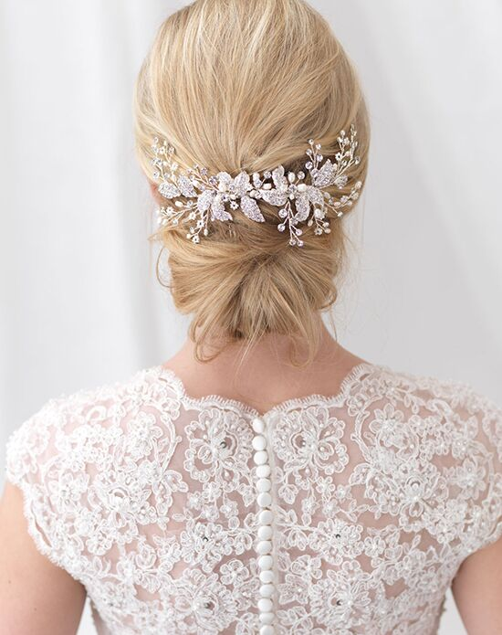USABride Camille Floral Back Comb TC-2306 Ivory, Silver Pins, Combs + Clip