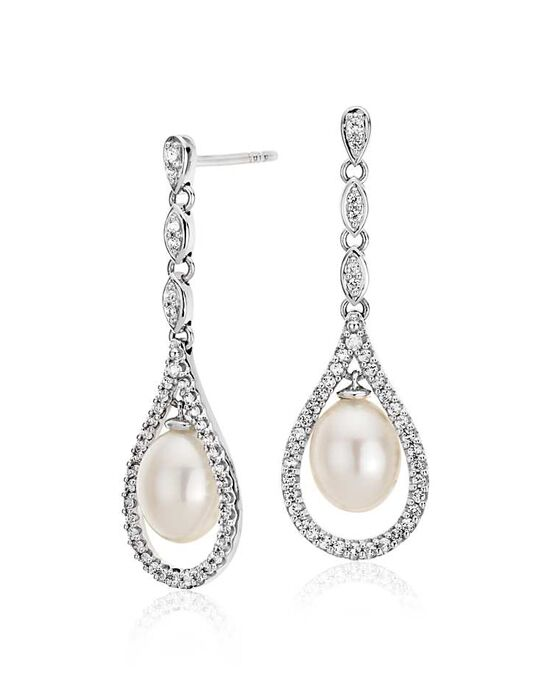 Blue Nile Vintage Freshwater Cultured Pearl and White Topaz Earrings Wedding Earring photo