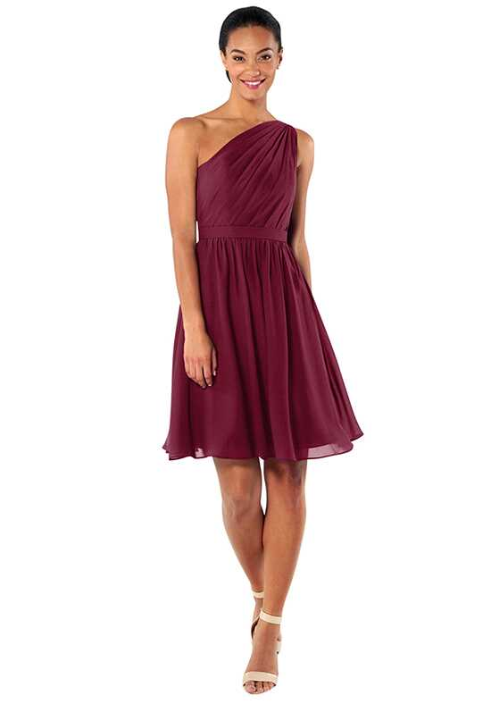 Brideside Tina Cocktail in Berry One Shoulder Bridesmaid Dress