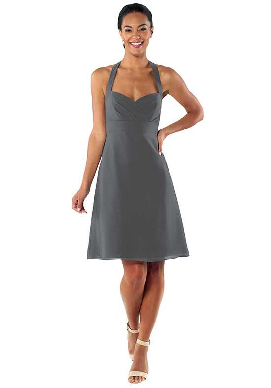 Brideside Minnie Cocktail in Charcoal Halter Bridesmaid Dress