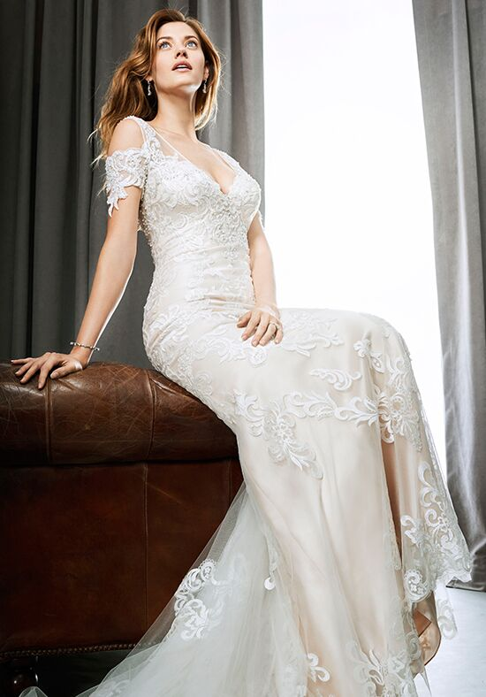 Sheer top mermaid wedding dress