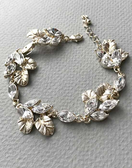 USABride Rhinestone & Leaf Gold Bracelet JB-4831-G Wedding Bracelets photo