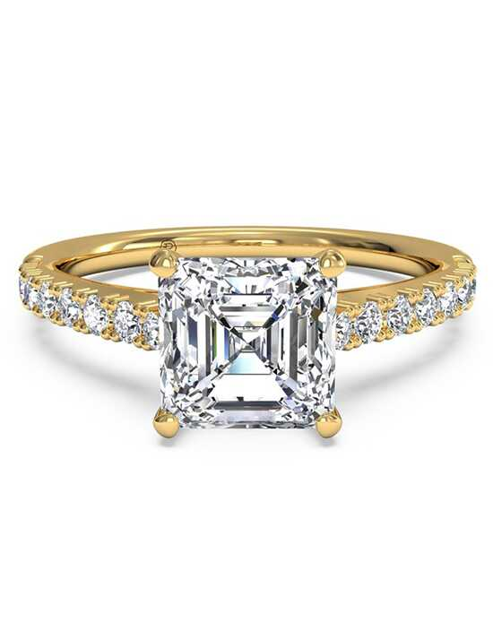 Ritani French-Set Diamond Band Engagement Ring - in 18kt Yellow Gold (0.23 CTW) for a Asscher Center Stone Engagement Ring photo