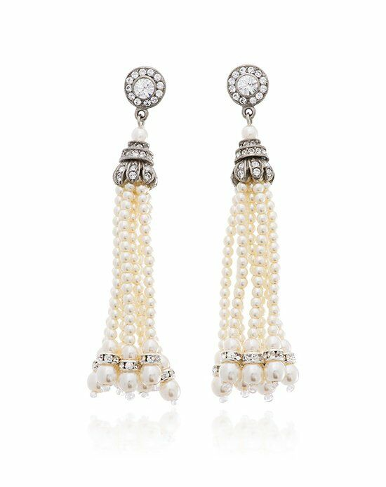 Thomas Laine Ben-Amun Tassel Pearl Earrings Wedding Earring photo