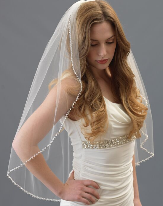 USABride Dangling Crystal & Pearl Bridal Veil (1 Layer) VB-5056 Veil