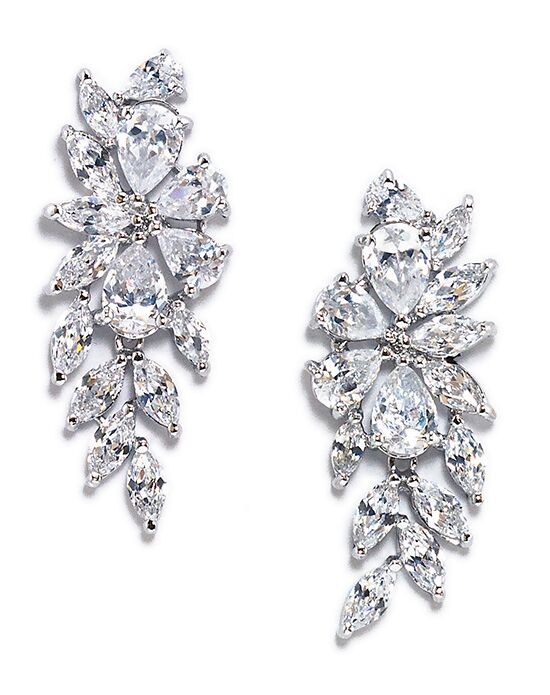 Anna Bellagio PEONY FLORAL INSPIRED CUBIC ZIRCONIA BRIDAL EARRING Wedding Earring photo