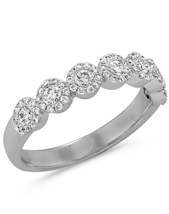diamond halo wedding band in 14k white gold white gold wedding ring - Halo Wedding Ring