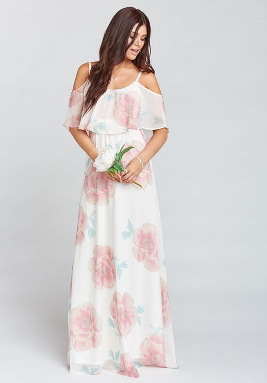 Show Me Your Mumu Caitlin Ruffle Maxi Dress - Wedding Bells Floral Scoop Bridesmaid Dress