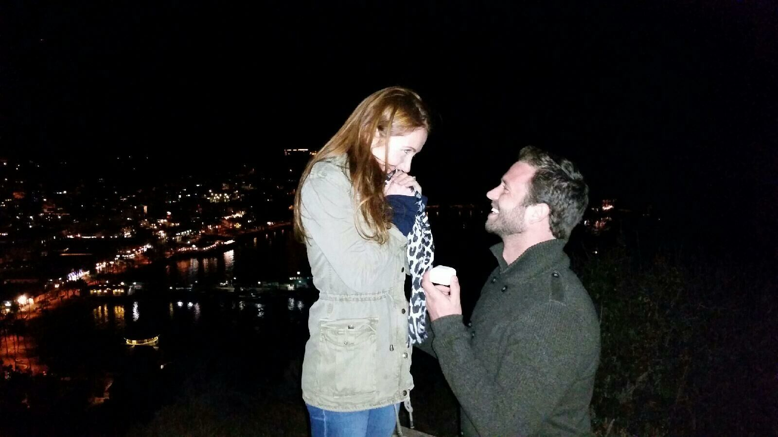 Ben proposing his wife Miranda Frigon on the top of a mountain at Catalina Island