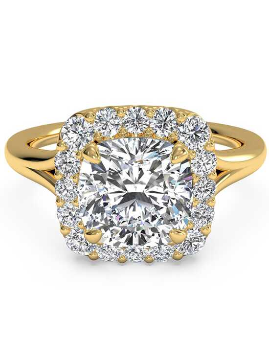 Ritani French-Set Halo Diamond Engagement Ring - in 18kt Yellow Gold (0.20 CTW) for a Cushion Center Stone Engagement Ring photo