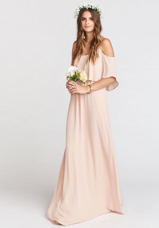 Show Me Your Mumu Caitlin Ruffle Maxi Dress - Dusty Blush Crisp Scoop Bridesmaid Dress