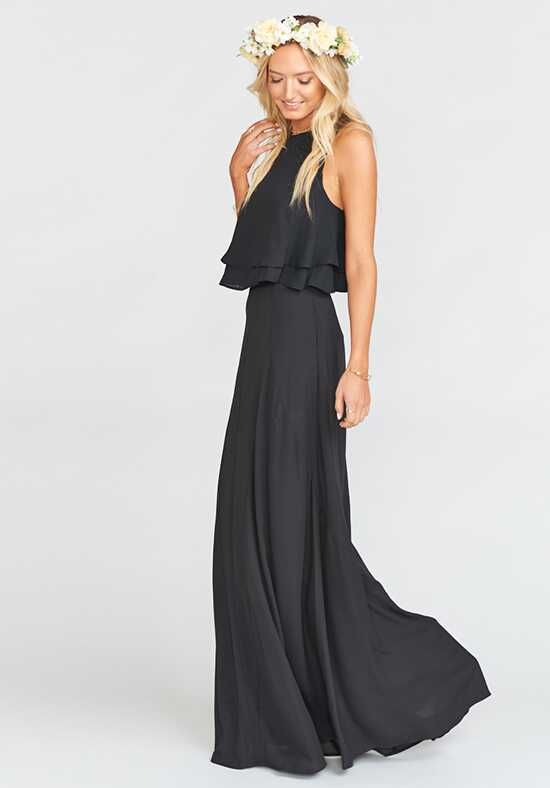 Show Me Your Mumu King Crop Top - Black Crisp Halter Bridesmaid Dress