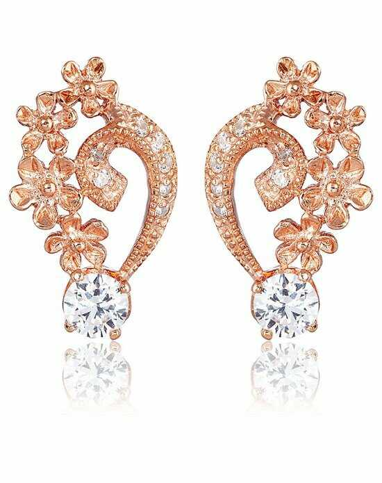 Thomas Laine Grace Petal Earrings - Rose Gold Wedding Earring photo