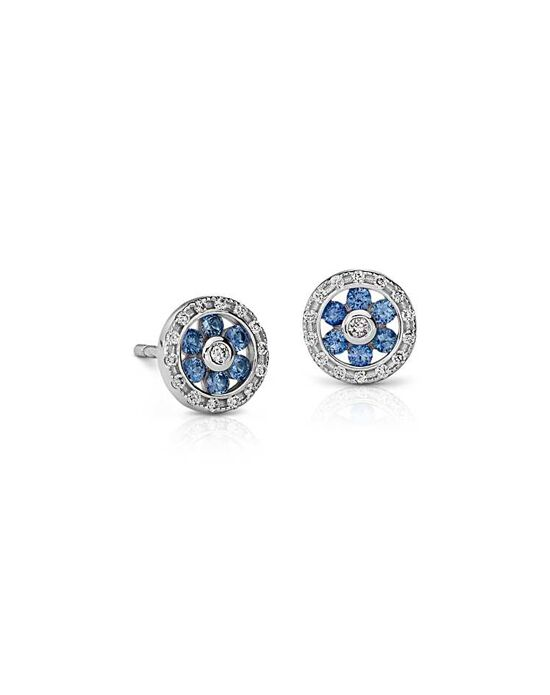 Blue Nile Sapphire and Diamond Floral Stud Earrings Wedding Earrings photo