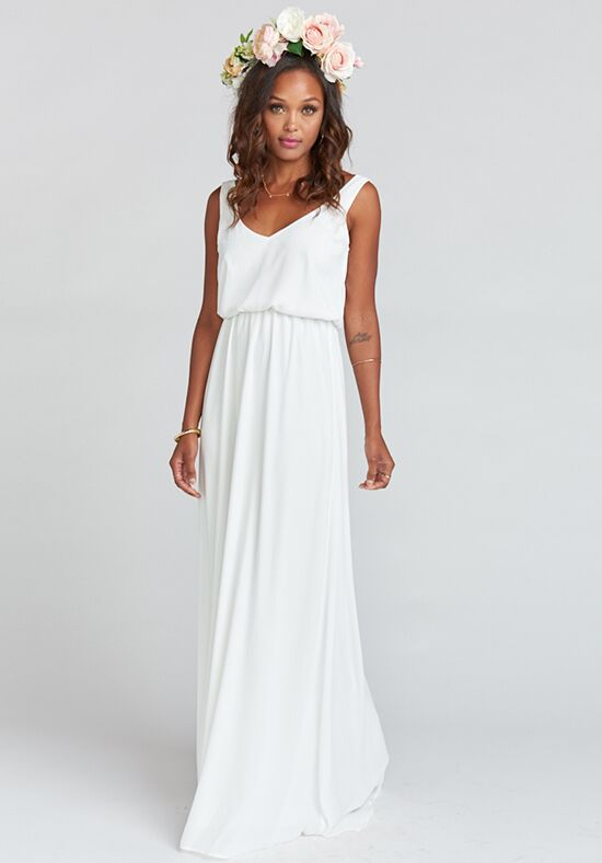 Show Me Your Mumu Kendall Maxi Dress - Ivory Crisp V-Neck Bridesmaid Dress