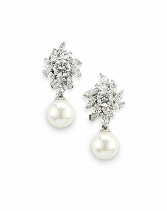 Anna Bellagio ELEN CUBIC ZIRCONIA AND PEARL DROP EARRINGS Wedding Earring photo