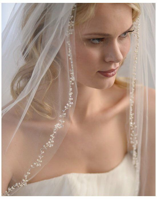 USABride 1-Layer Floral Beaded Veil VB-5034 Ivory Veil