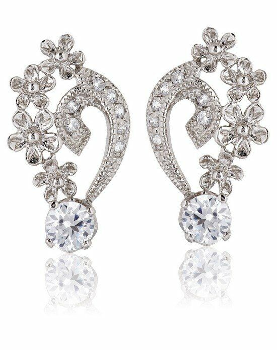 Thomas Laine Grace Petal Earrings - Silver Wedding Earring photo