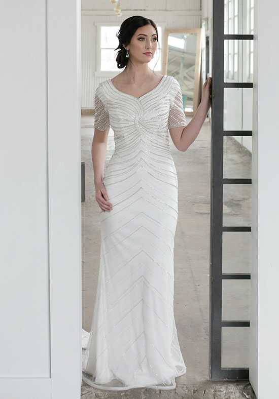 Modest by Mon Cheri TR21855 Sheath Wedding Dress