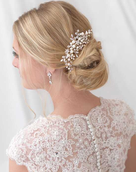 USABride Emmy Floral Comb TC-2293 Ivory, Silver Pins, Combs + Clip