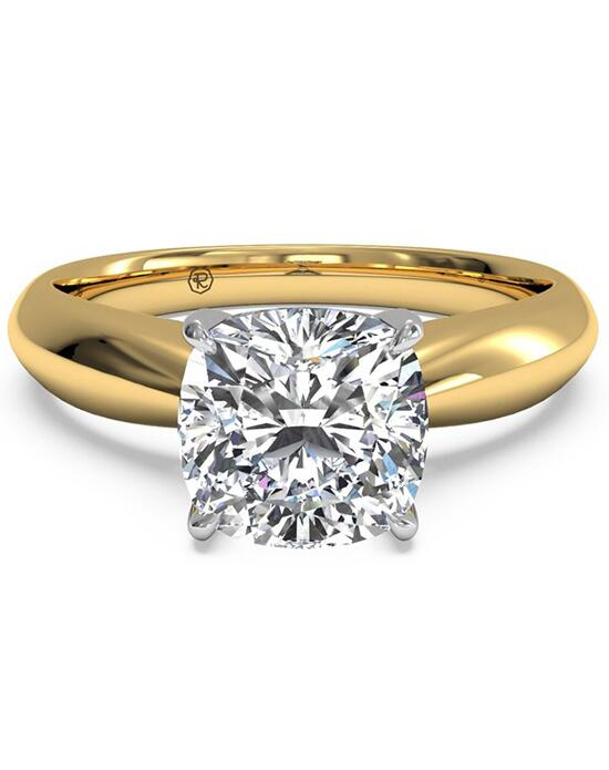 Ritani Solitaire Diamond Tapered Engagement Ring with Surprise Diamonds - in 18kt Yellow Gold - (0.04 CTW) for a Cushion Center Stone Engagement Ring photo