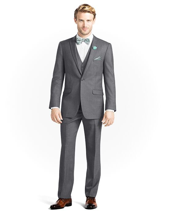 Generation Tux Iron Gray Peak Lapel Suit White, Gray Tuxedo