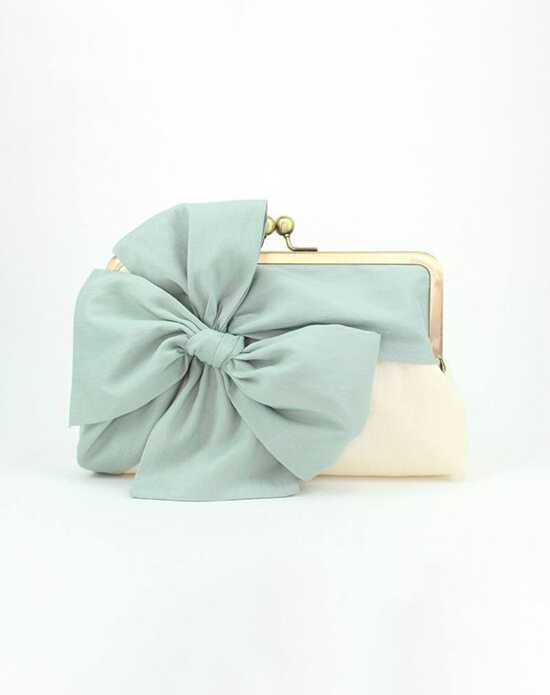 Davie & Chiyo | Clutch Collection Classic Bow Clutch: Mint on Ivory Blue, Green, Ivory Clutches + Handbag