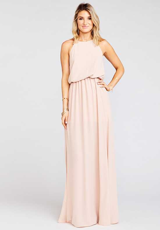 Show Me Your Mumu Heather Halter Dress - Dusty Blush Crisp Halter Bridesmaid Dress