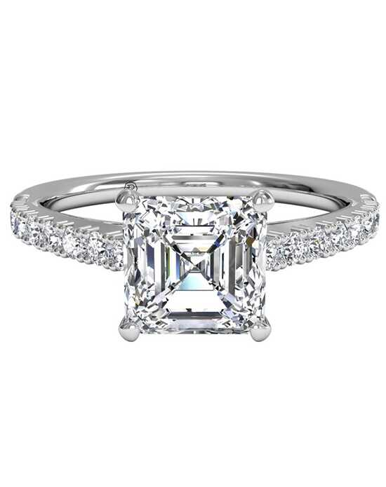 Ritani French-Set Diamond Band Engagement Ring - in 14kt White Gold (0.23 CTW) for a Asscher Center Stone Engagement Ring photo