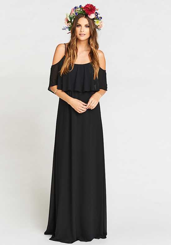 Show Me Your Mumu Caitlin Ruffle Maxi Dress - Black Chiffon Scoop Bridesmaid Dress