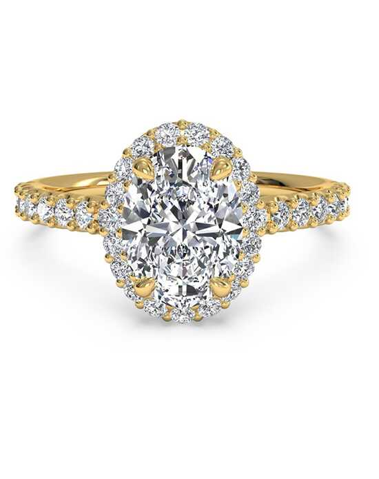 Ritani French-Set Halo Diamond Band Engagement Ring - in 18kt Yellow Gold (0.45 CTW) for a Oval Center Stone Engagement Ring photo