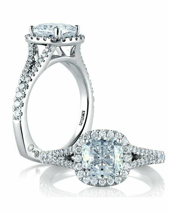 A.JAFFE Split Shank Open Bridge Halo Cushion Engagement Ring, MES576 Engagement Ring photo