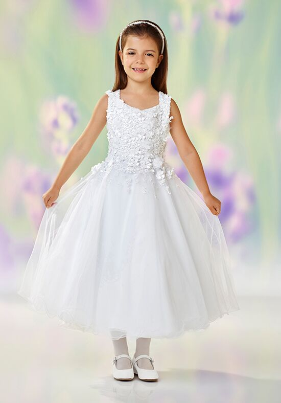 Joan Calabrese by Mon Cheri 118321 White Flower Girl Dress