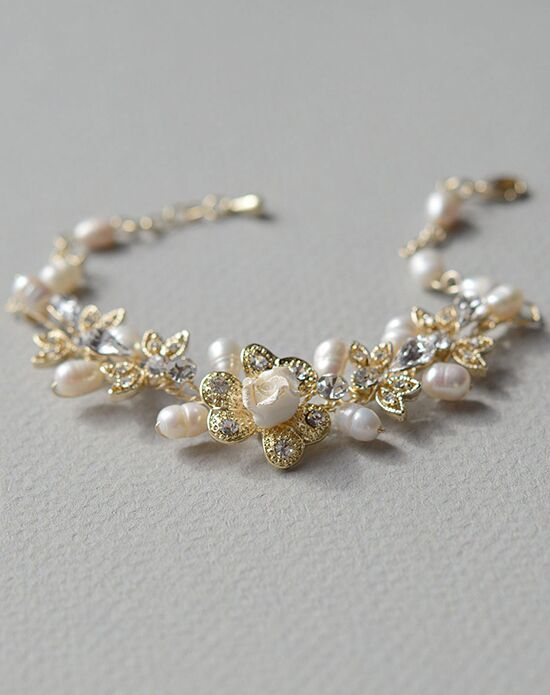 USABride Petite Flower Pearl Gold Bracelet JB-4826-G Wedding Bracelet photo