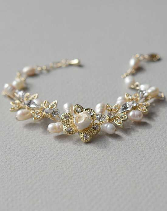 USABride Petite Flower Pearl Gold Bracelet JB-4826-G Wedding Bracelets photo