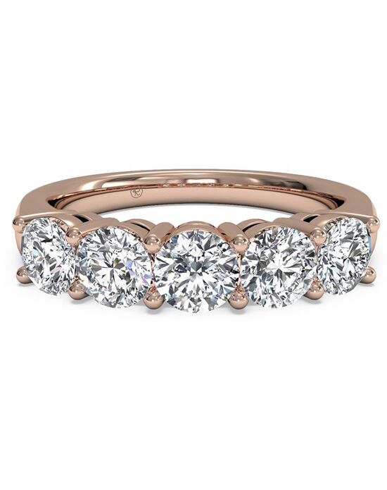 ritani womens five stone diamond wedding band in 18kt rose gold 100 ctw - Ritani Wedding Rings