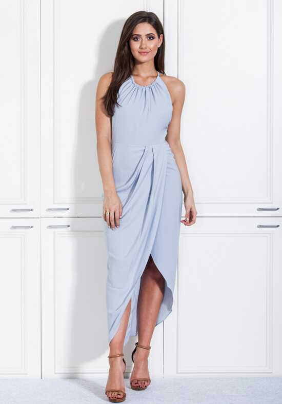 White Runway Powder Blue Ruched High Neck Dress Bridesmaid Dress photo