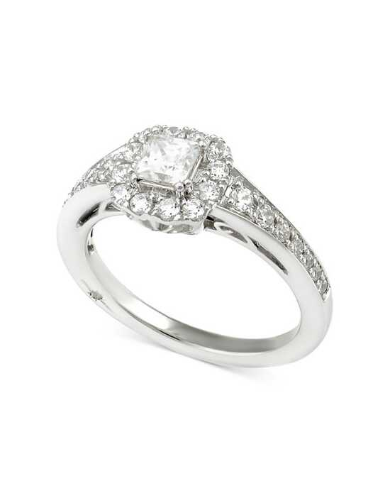 Macy's Fine Jewelry 1 CTTW Certified Princess Cut Halo in 18K White gold Engagement Ring photo