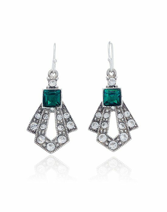 Thomas Laine Ben-Amun Mini Gatsby Emerald Crystal Drop Earrings Wedding Earring photo