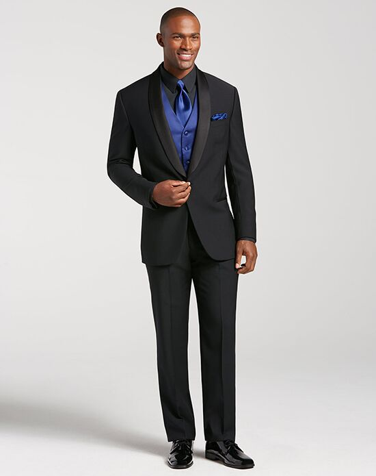 Men's Wearhouse Calvin Klein® Shawl Lapel Tuxedo Black Tuxedo